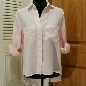 XS Anthro Cloth & Stone Light Pink Chambray Top